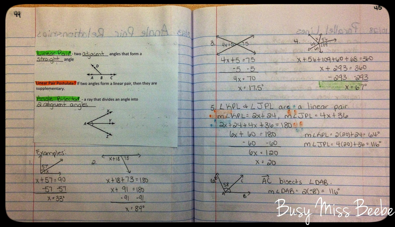 Busy Miss Beebe: 2014-2015 Geometry INB Unit 3 (Lines & Angles)