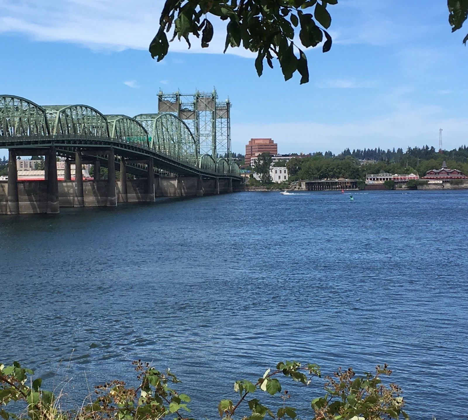 Hayden Island is in the Columbia River, here looking north towards the Washington side.