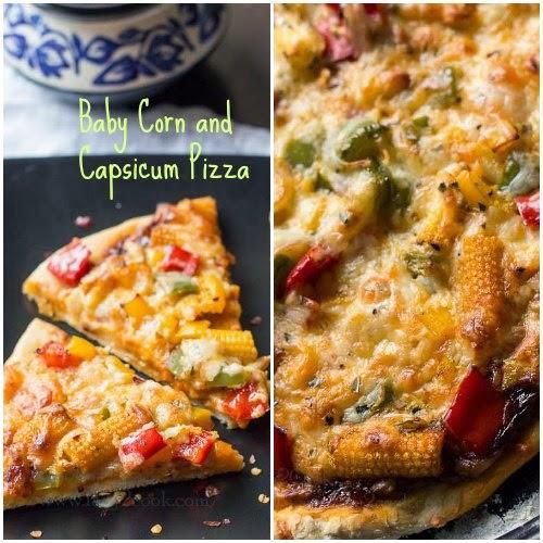 Baby corn and Capsicum Pizza