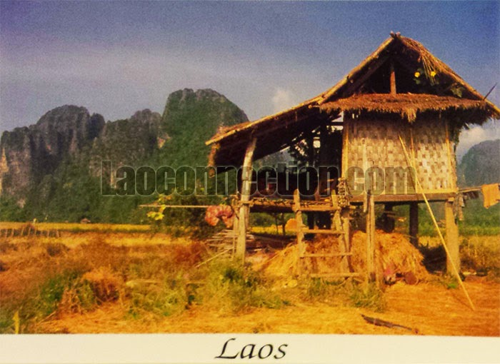 Rest hut in a rice field in Vang Vieng by Michel Huteau