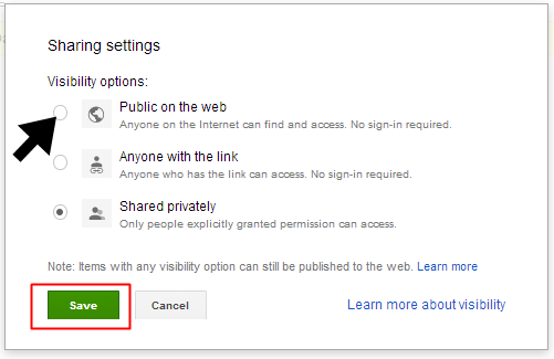 how to change the file visibility on Google Drive
