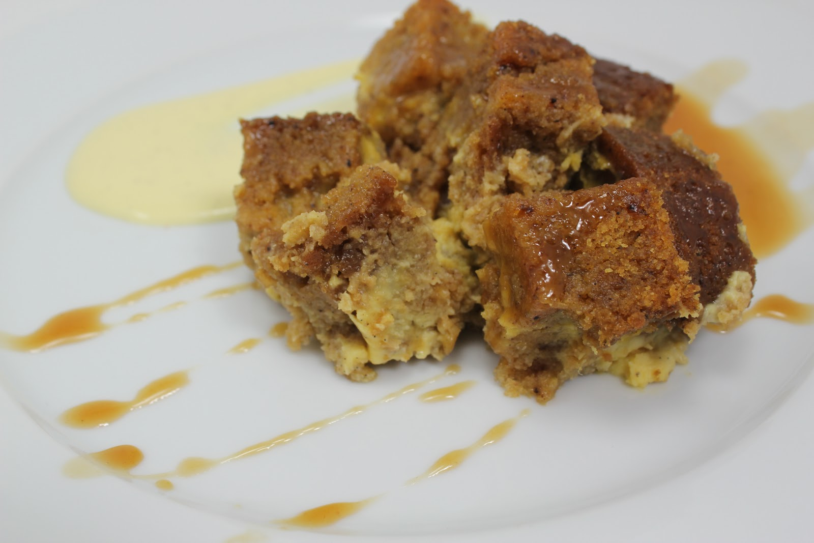 Pumpkin Bread Pudding with Spicy Caramel Apple Sauce and Vanilla Bean ...
