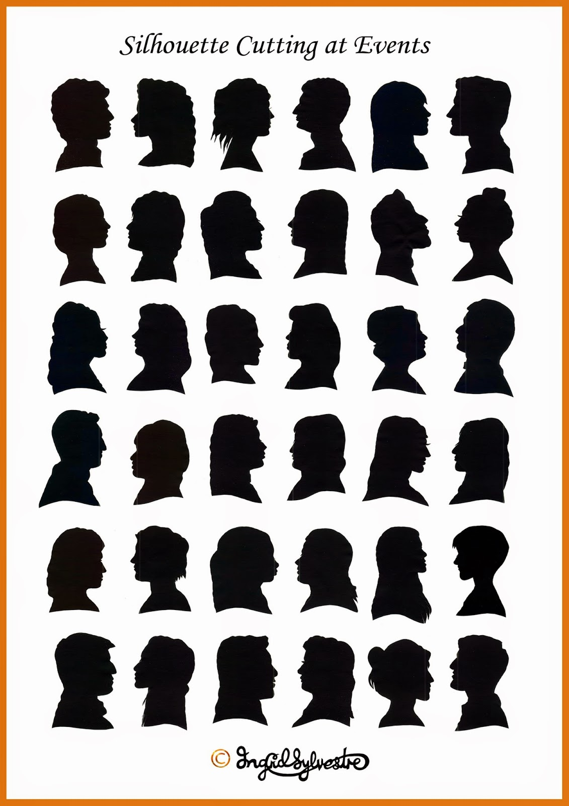 Silhouettes cut by UK silhouette artist - shadow cutter Ingrid Sylvestre, weddings, parties, proms, corporate events
