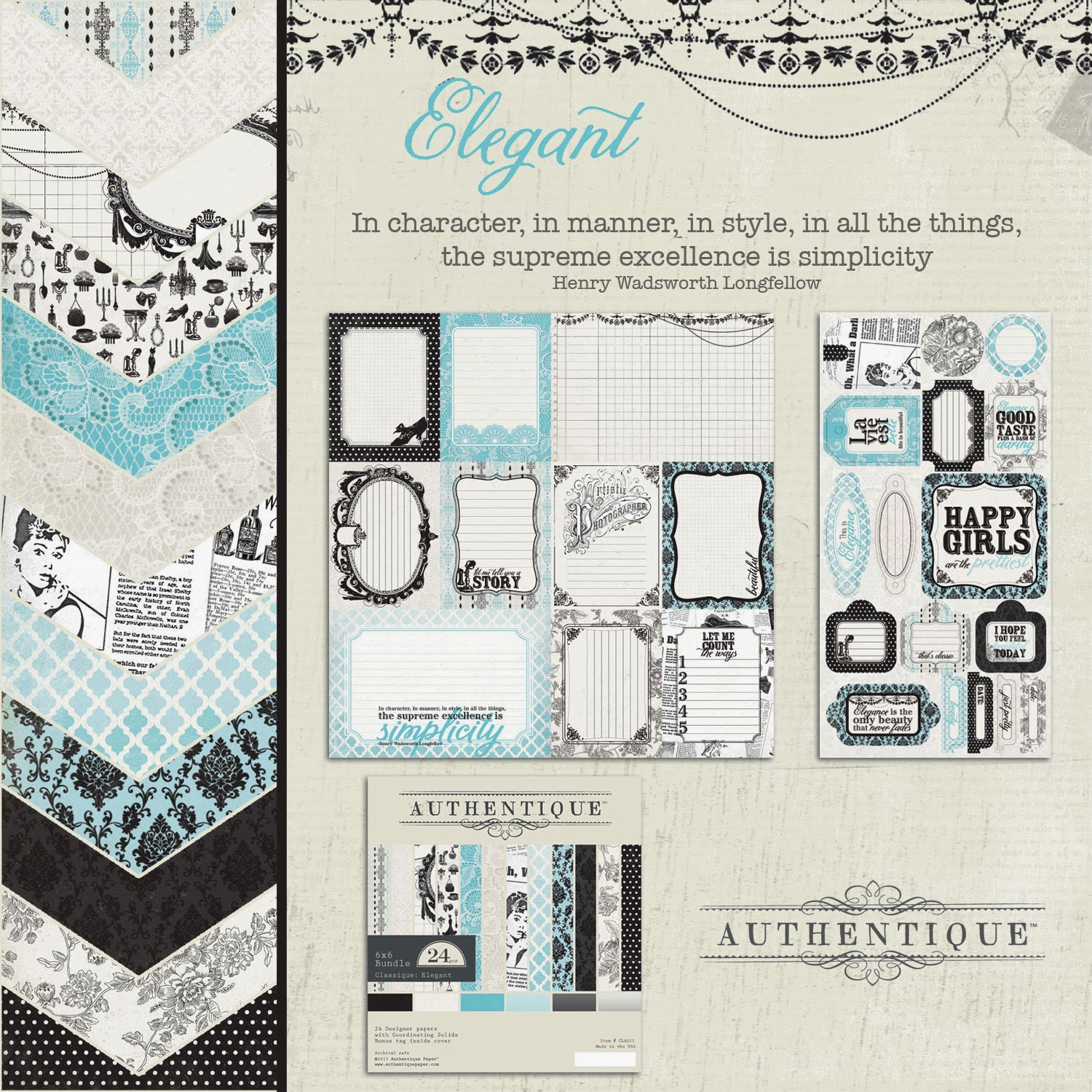 2 sheets Foundation One Authentique Anchored 12x12 Scrapbook Paper