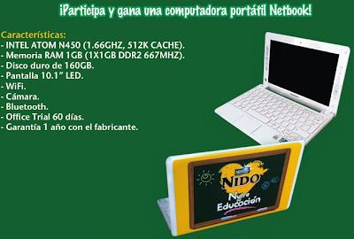 premio portátiles Netbook, modelo S10-3 SLIM marca LENOVO promocion Nido nutre su educacion Mexico 2011