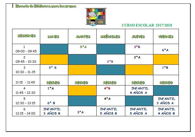 Horarios para los grupos 2017/18