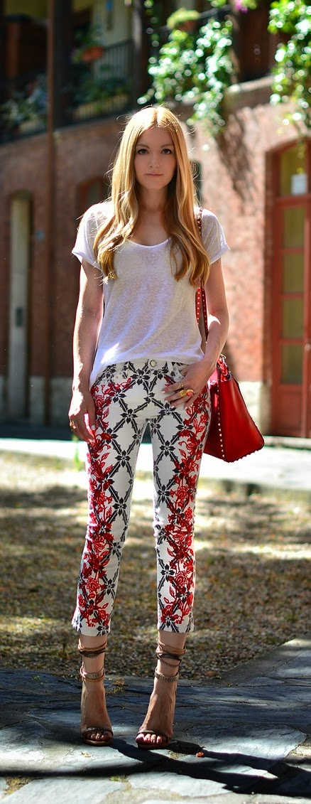 Zara Top with Printed Cropped Pant with High Heels | Summer Outfits