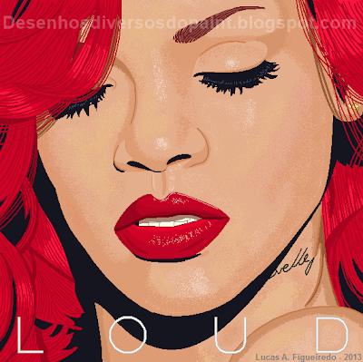 """Desenho do álbum """"Loud"""", da Rihanna, feito no MS Paint."""