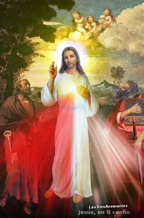 divina misericordia con apostoles pedro y pablo