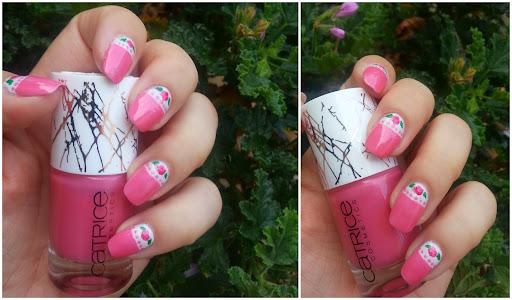 Pink Lace N' Roses Vintage Nail Art