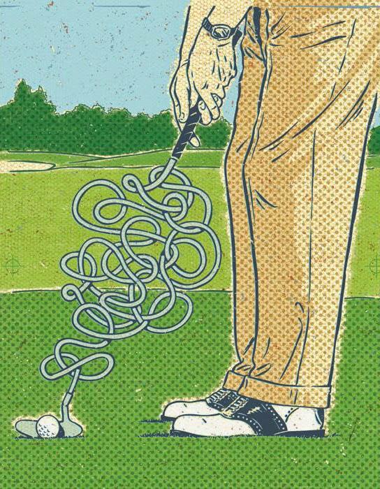 John Kachik illustration of twisted golf club.