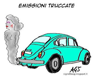 Volkswagen, smog, inquinamento, satira, vignetta