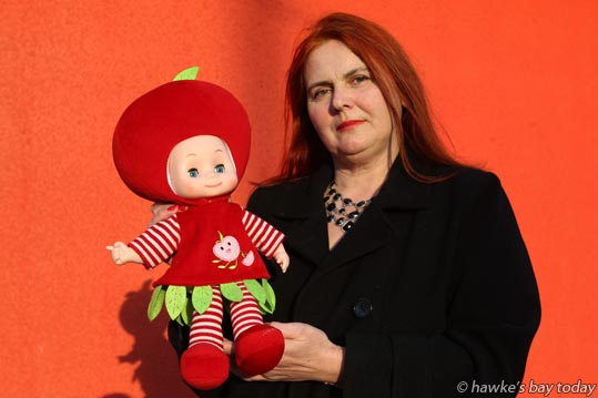 A fruit-head doll which contains Phthalates and is subject to a Europe-wide recall notice has been found in a Napier op shop by Mary O'Neill. Phthalates is banned in children's  toys and can be dangerous if ingested.  photograph