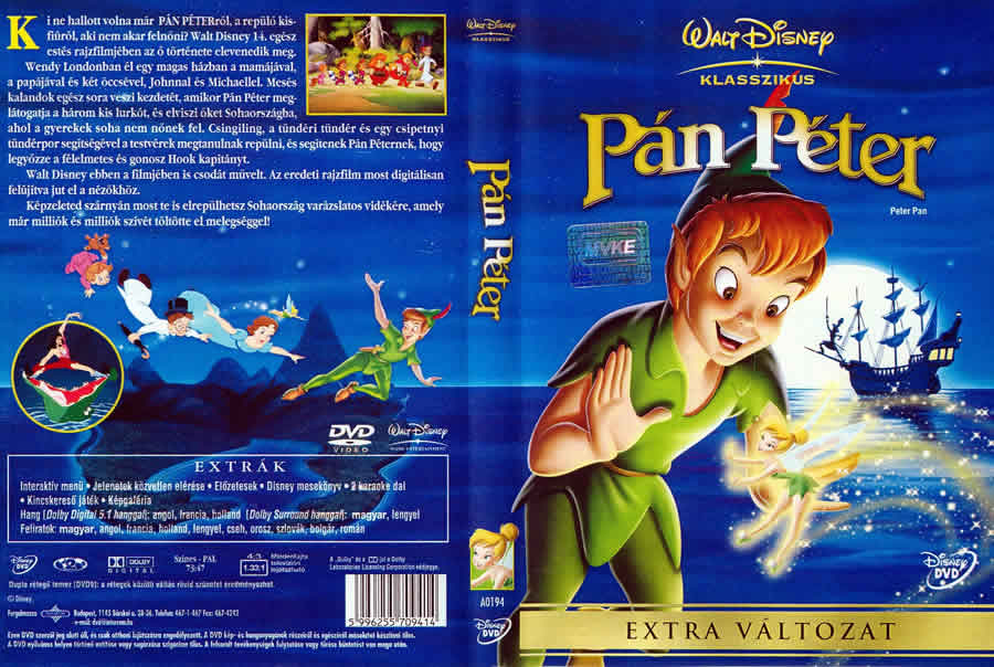 DVD cover front and back Peter Pan 1953 animatedfilmreviews.blogspot.,com