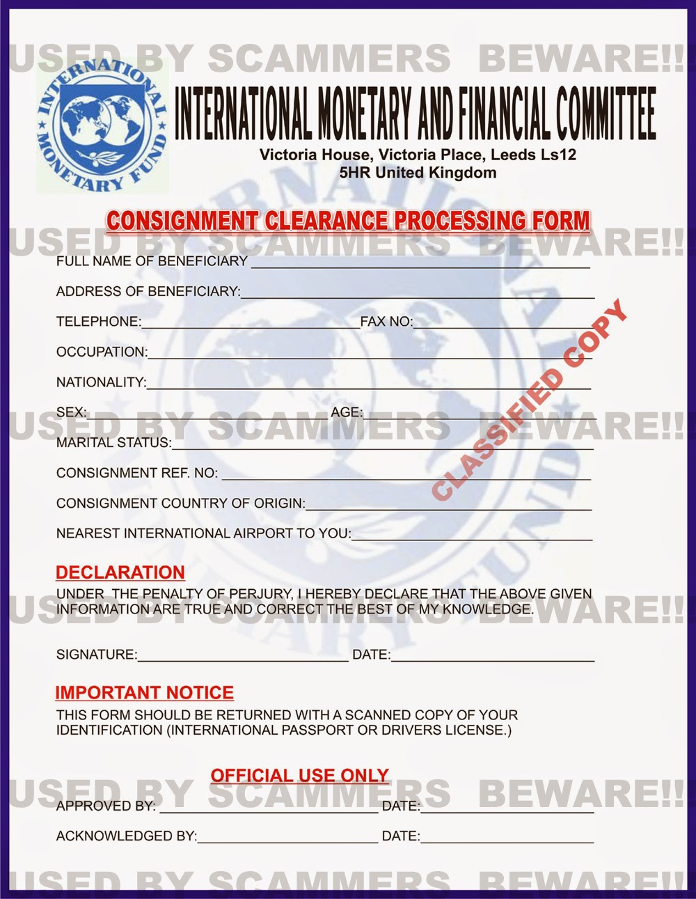 FRAUD FYI: Fake consignment form, fake IMF ID and fake agreement ...