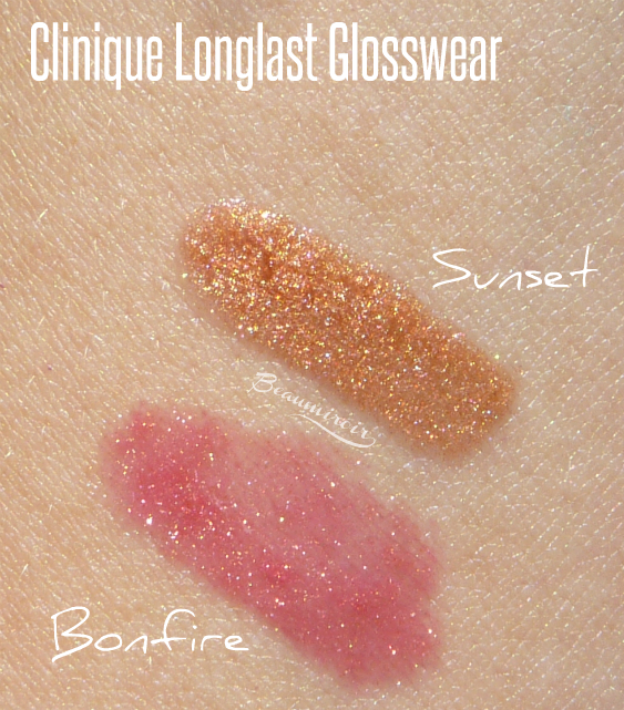 Clinique Long Last Glosswear in Bonfire & Sunset swatches