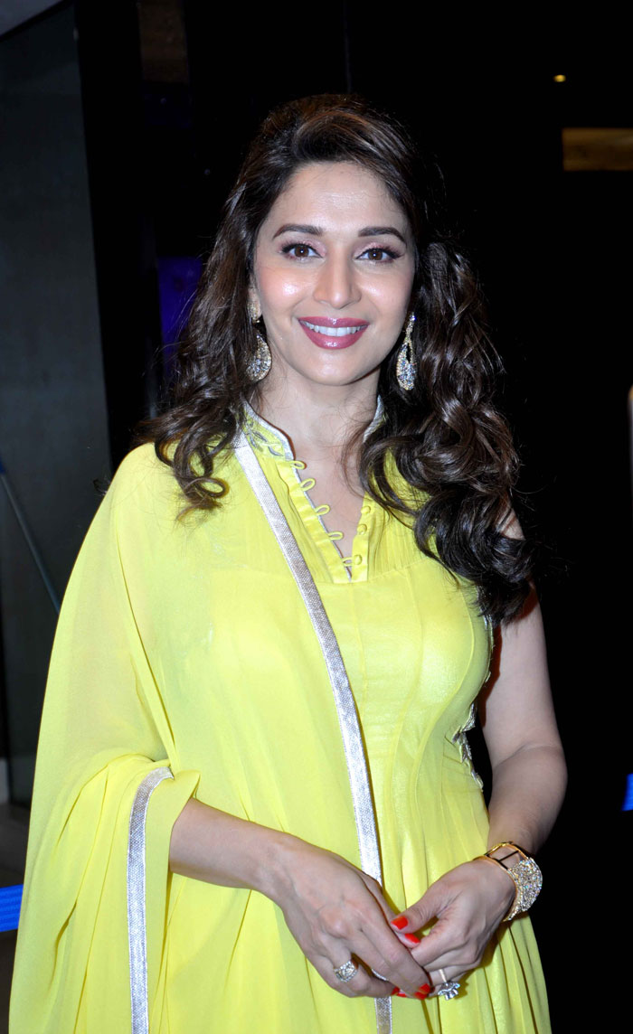 Tollywood Boost Madhuri dixit Amazing in yellow Dress