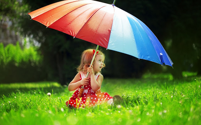 Baby Girl With Colorful Umbrella