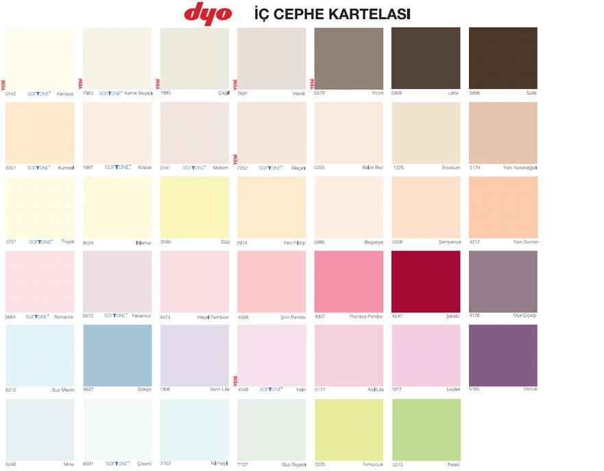 Dyo Filli Boya Marshall Renk Kartelası ve Boya Fiyatları 2013