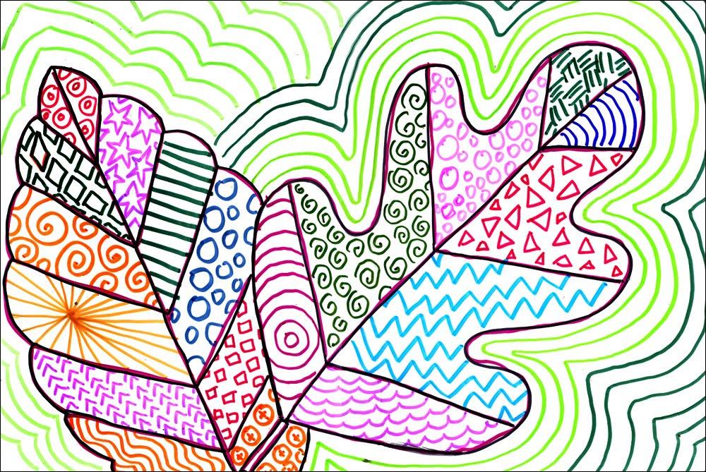 Line Art Grade 1 : Patterned leaves art projects for kids lovin