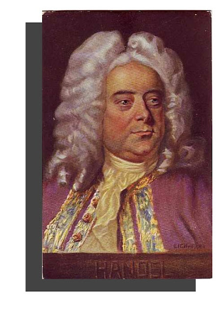 George Frideric Handel .German composer - Antique Unused Austrian Artist Portrait Postcard, ca. 1900, Bruder Kohn