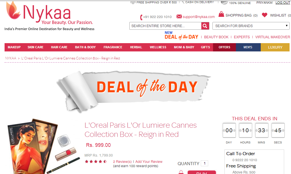 PR:Nykaa introduces their Latest Feature- Deal of the Day