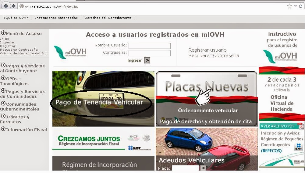 Ovh veracruz pago de tenencia for Oficina virtual ministerio de hacienda