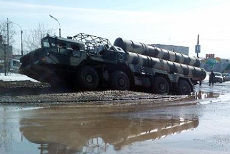 Missile Launcher Russian S-300 stuck Lanzador de misiles ruso S-300 atascado