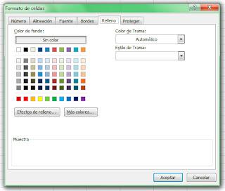 Formato de celdas en Excel 2007. Relleno