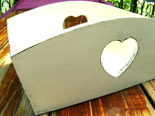 shabby chic decoupage pojemnik serce