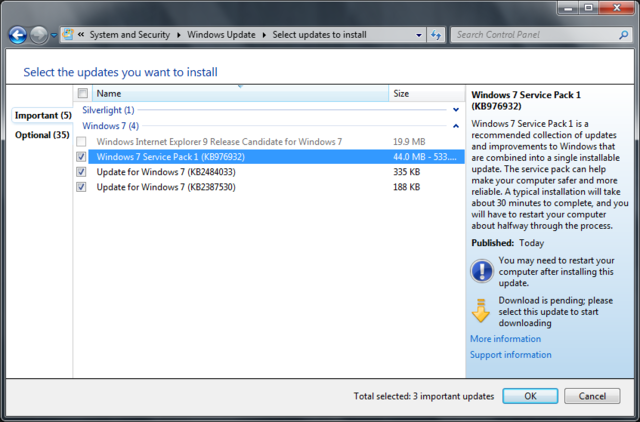 update windows 7 service pack 1
