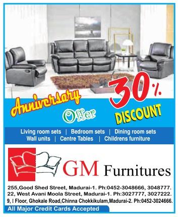 Gm Furniture Anniversary Offer Madurai Tnoffers Tamilnadu News Cheap Deals And Shopping