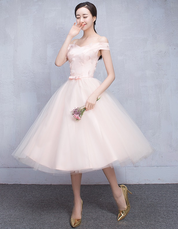 New 2016 6-Design 3-D Floral Bridesmaids Past Knee Length Dress