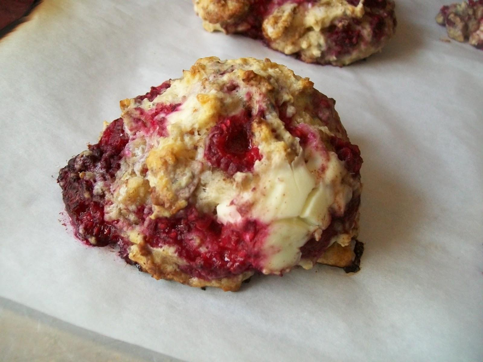 My copy-cat Great Harvest Raspberry Cream Cheese Scone. The scones are ...