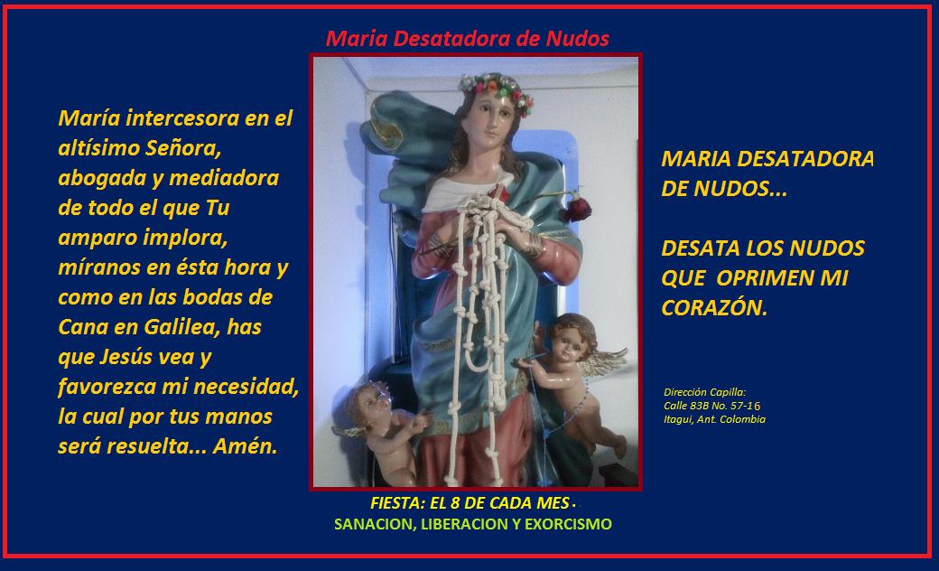 MARIA DESATADORA DE NUDOS... DESATA LOS NUDOS QUE OPRIMEN MI CORAZÓN.