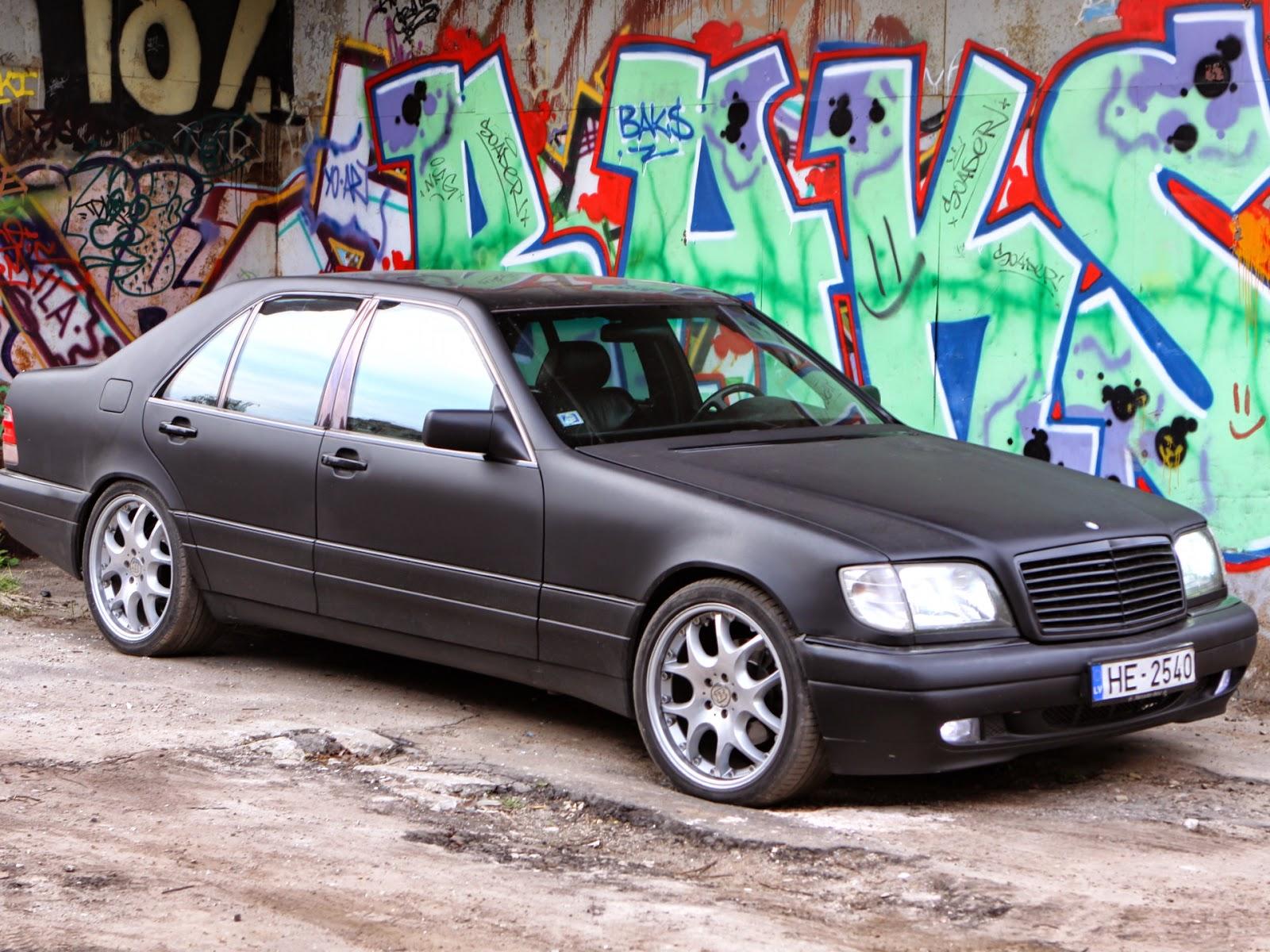 Mercedes benz s320 w140 black matte on r20 brabus rims for Mercedes benz black on black
