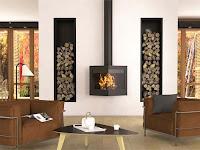 diseño de sala con chimenea