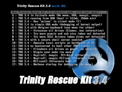 Trinity Rescue Kit,TRK, reparar, manutenção, informática