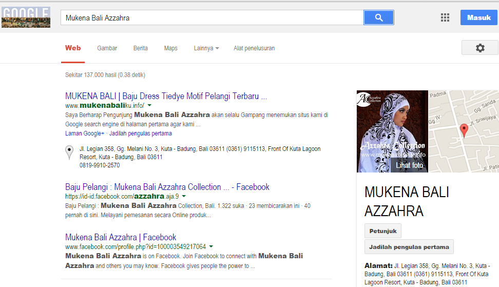 screenshot posisi SEO Rangking 1 di Google