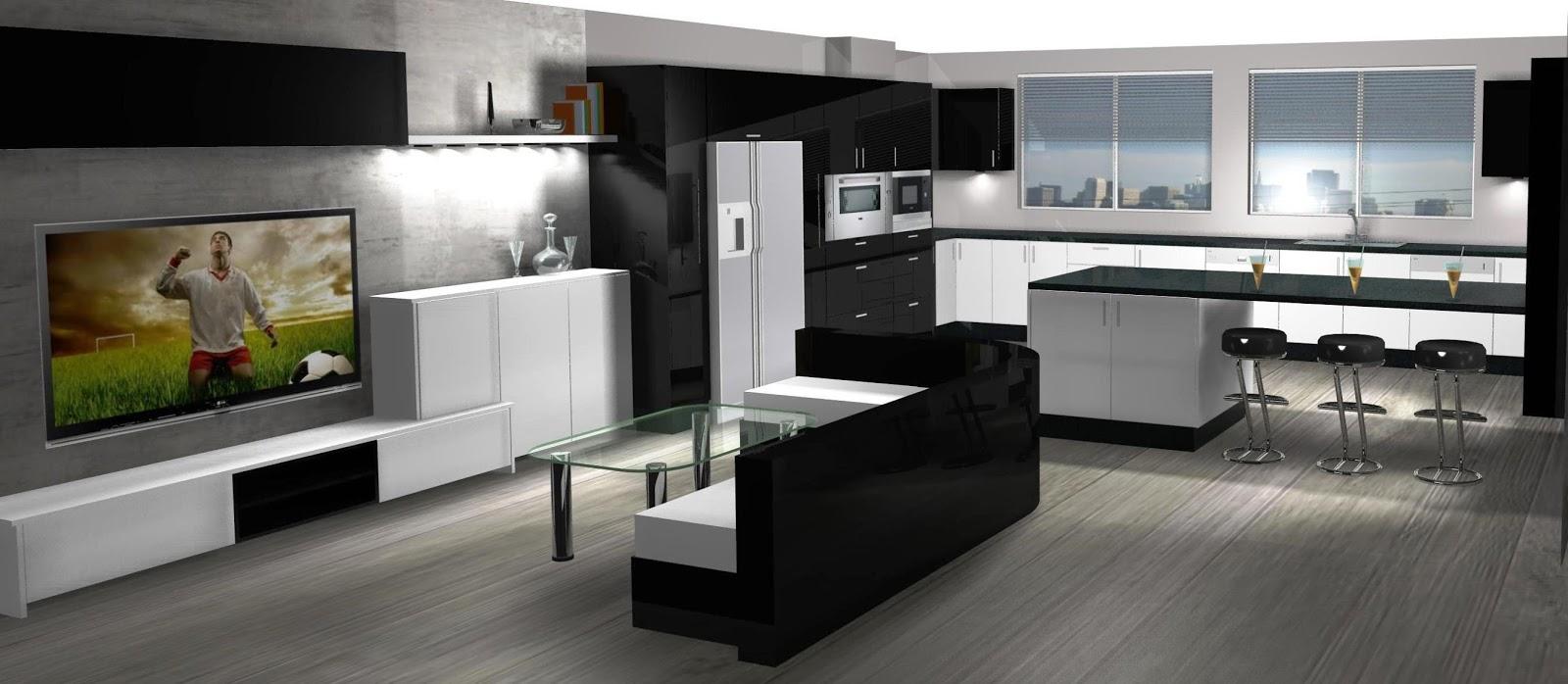 Dise o de cocina comedor lacado en blanco y negro for Disenos de cocinas comedor