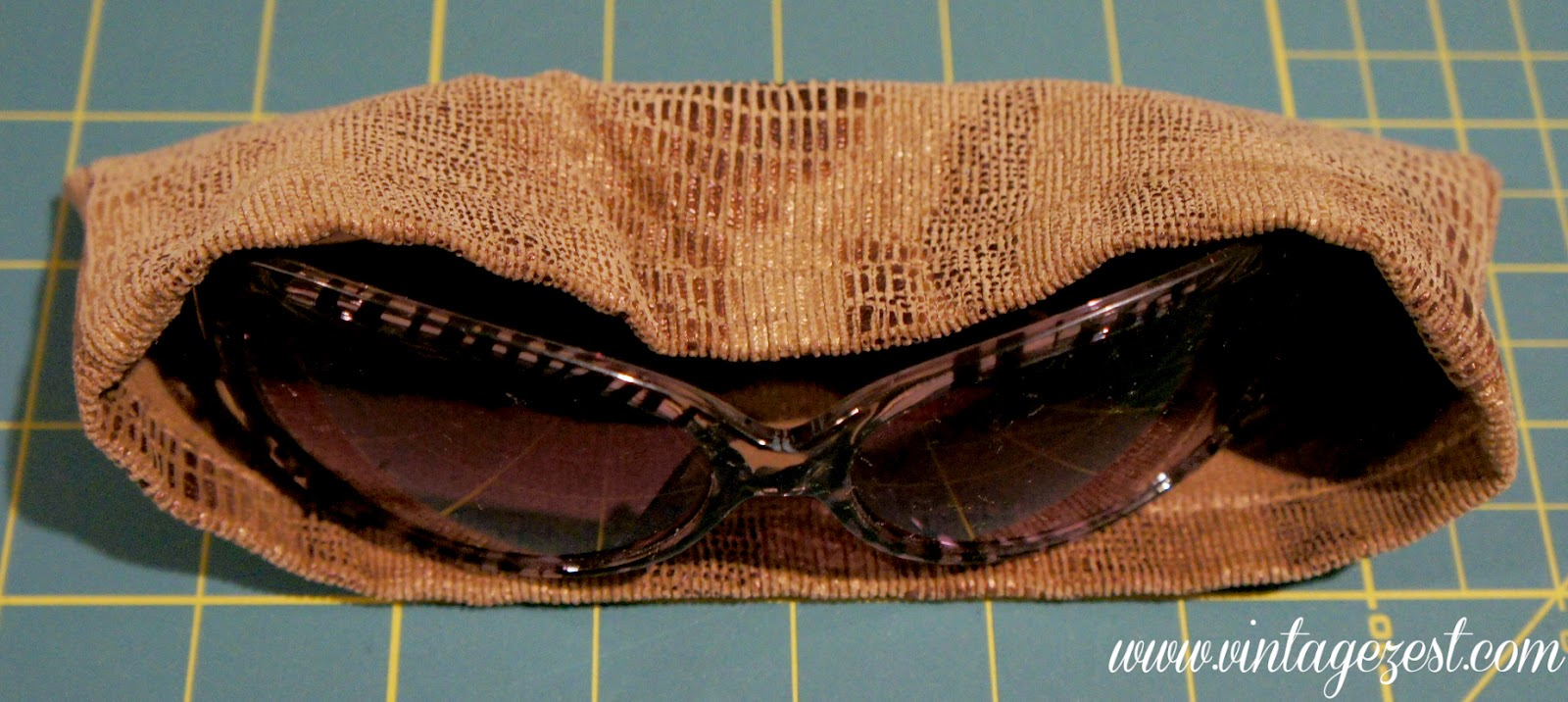 Upcycled Pant Hems into Sunglasses Sleeve