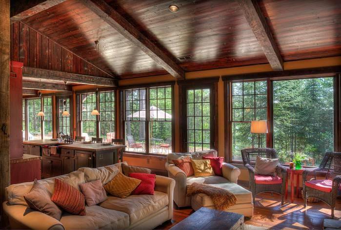 Деревянный дом, гостиная