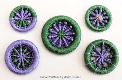 Dorset buttons with beads, made by Robin Atkins