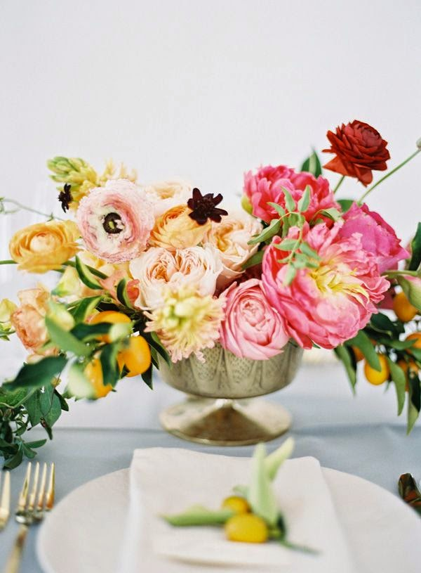 flower and fruit arrangement - table settings