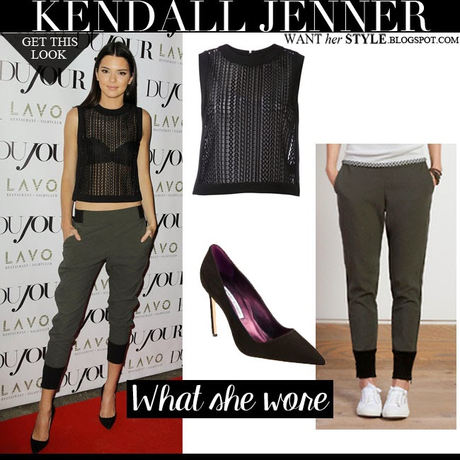 Kendall Jenner in black sheer Alexander Wang top with Line Dry green sweatpants and Manolo Blahnik BB pumps august 28 2014 want her style