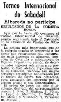 Recorte de El Mundo Deportivo sobre el IV Torneo Internacional de Ajedrez de Sabadell 1945