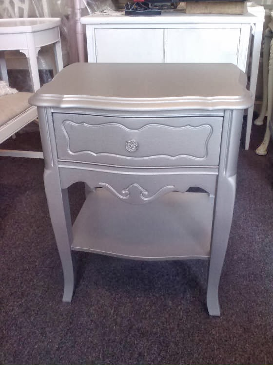 Vintage Painted side table silver