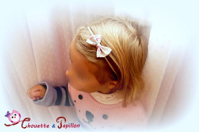 Bandeau bébé, bandeau fille avec noeud papillon liberty eloise