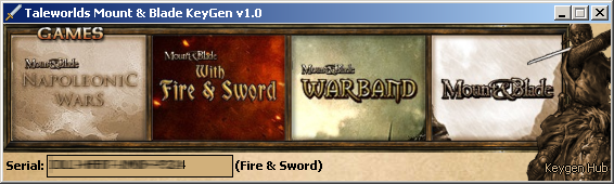 (Generated serial number blurred out for security reasons! mount and blade warband