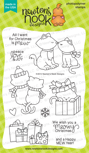 Newton's Christmas Cuddles photopolymer cat stamp set | Newton's Nook Designs #newtonsnook #christmas